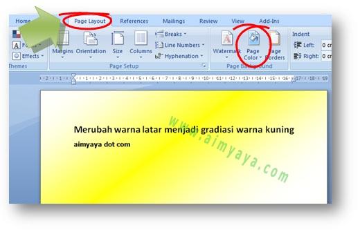 Gambar: contoh hasil pemakaian cara merubah latar belakang di Microsoft Word 2007