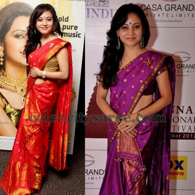 Tamil Actress Bright Silk Saris Saree Blouse Patterns