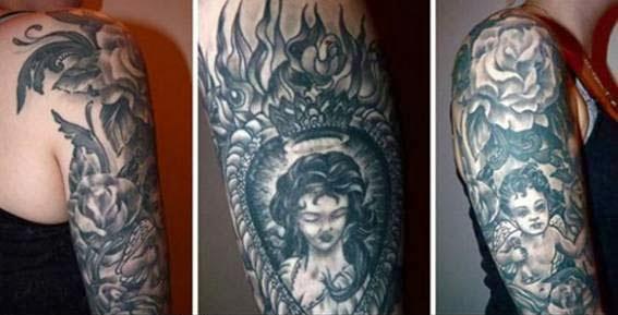 tatuagens de anjos com nomes de filhos