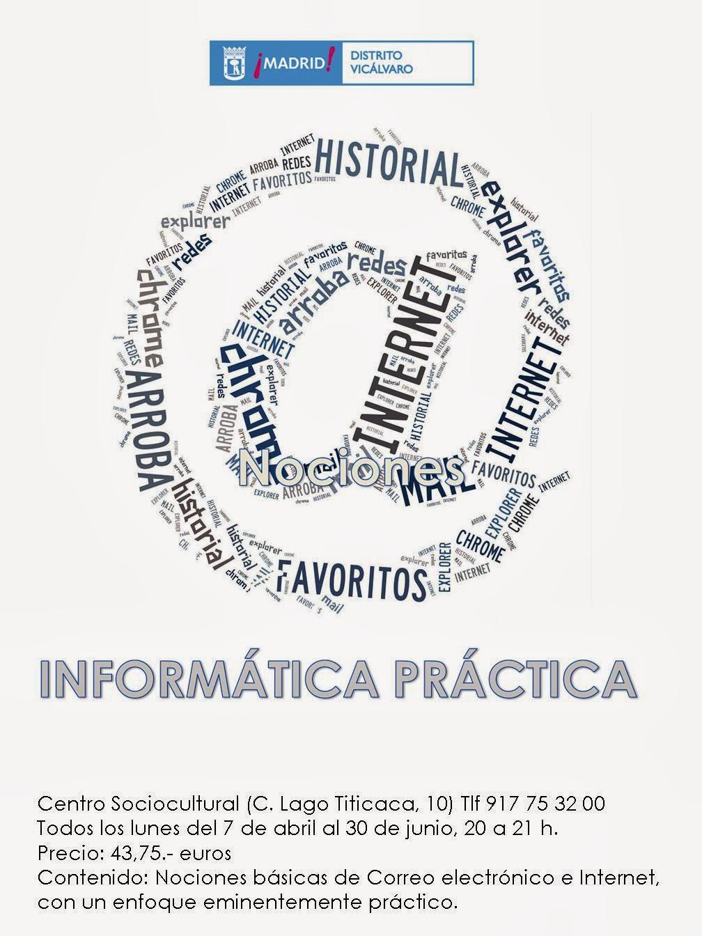 Taller trimestral abril a junio, informática práctica. Centro Sociocultural Vicálvaro