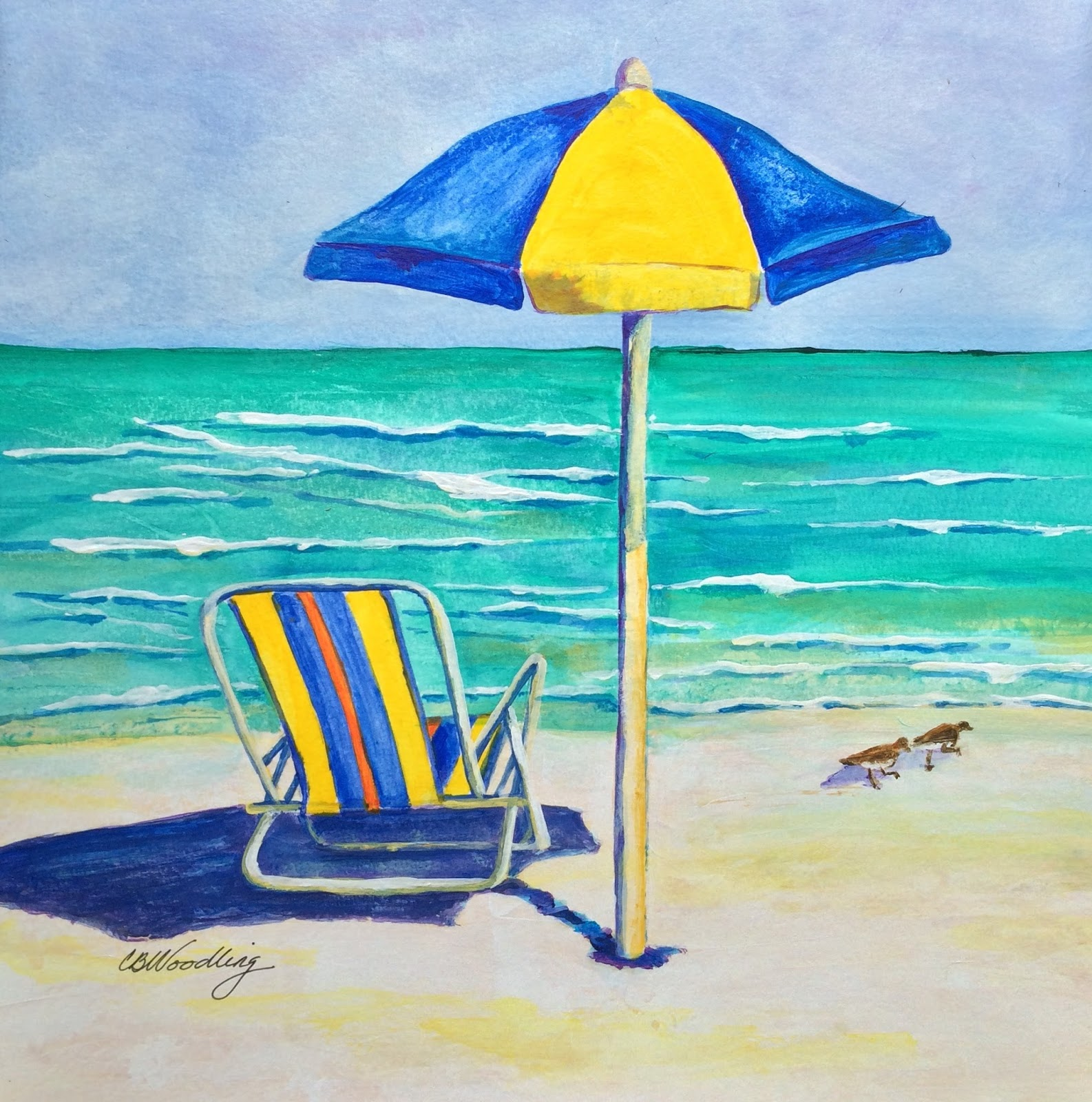 Beach chairs on the beach painting - Beach Chair In Yellow And Blue By Cb Woodling