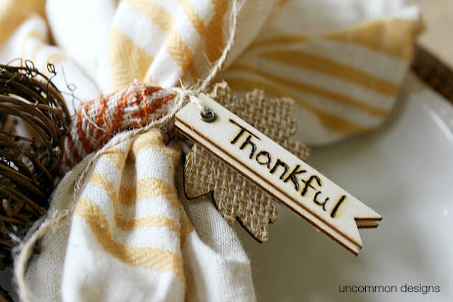 11 Thanksgiving Table Decor Ideas featuring Thankful Napkin Rings by Uncommon Designs