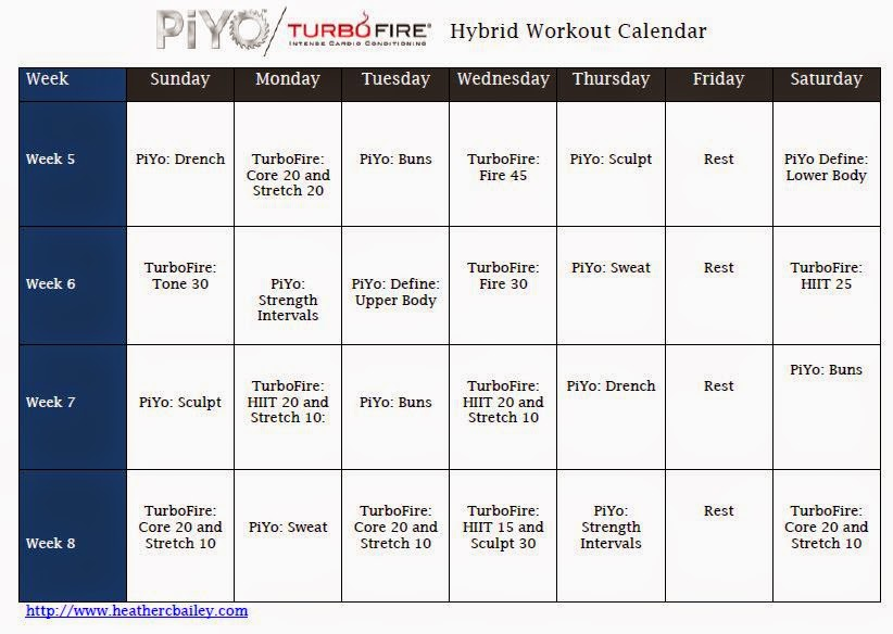 PiYo and TurboFire Hybrid Calendar ~ Hard workin mommie