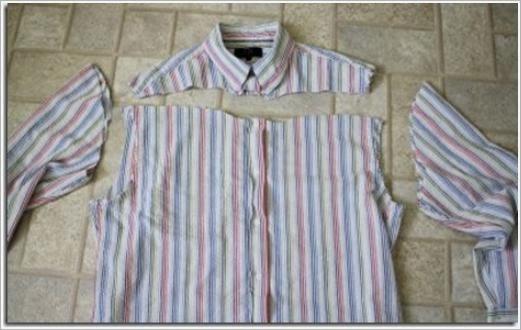 Платье для девочки из мужской рубашки. Dress for girls in a man's shirt.