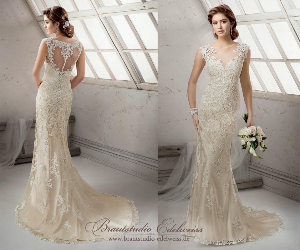 Brautkleid mit schönem Rücken figurbetont. Hochzeitskleid einem bedeckten Rücken.