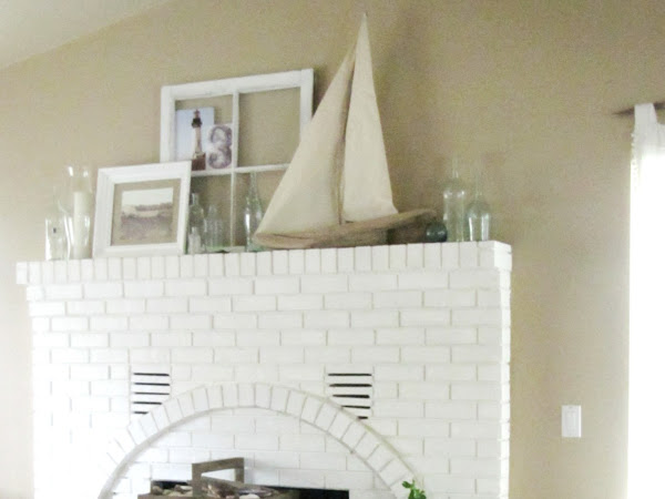 Bottles and Driftwood Mantel