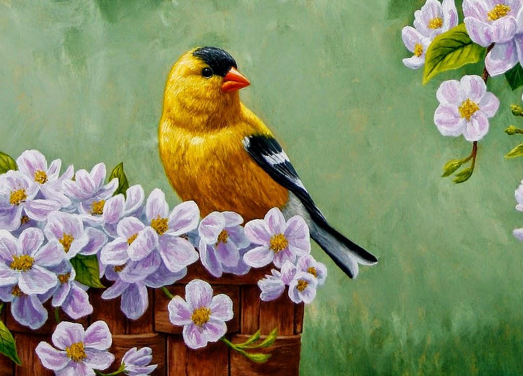 pinturas-de-aves-y-flores