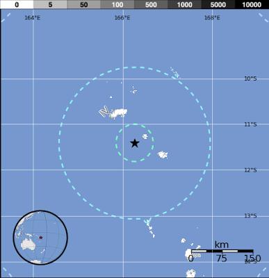 Epicentro sismo 6,1 grados en Islas Salomon, el 05 de Junio de 2013