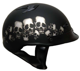 DOT Skull Pile Shorty Motorcycle Helmet