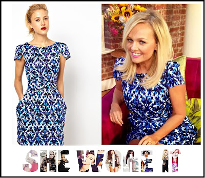 ASOS, Dress, Emma Bunton, Exposed Zip, Jewel Print, Blue, Pocket Detail, Print, Structured, Tailored, This Morning, White
