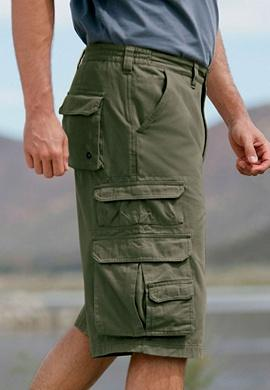 Long cargo shorts in olive green these ranger shorts have a pocket for