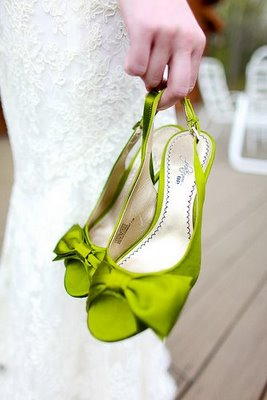 Another Version In A Lime Green, Pretty Bow Peep Toed Sling Backs.