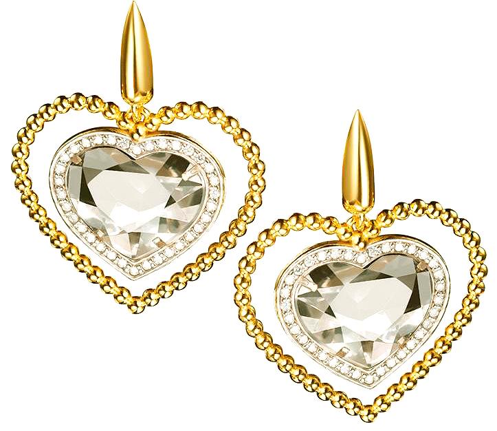 Brinco folheado a ouro 18k  Com pingente de coração em cristal de quartzo  Bordas cravejadas com zircônia