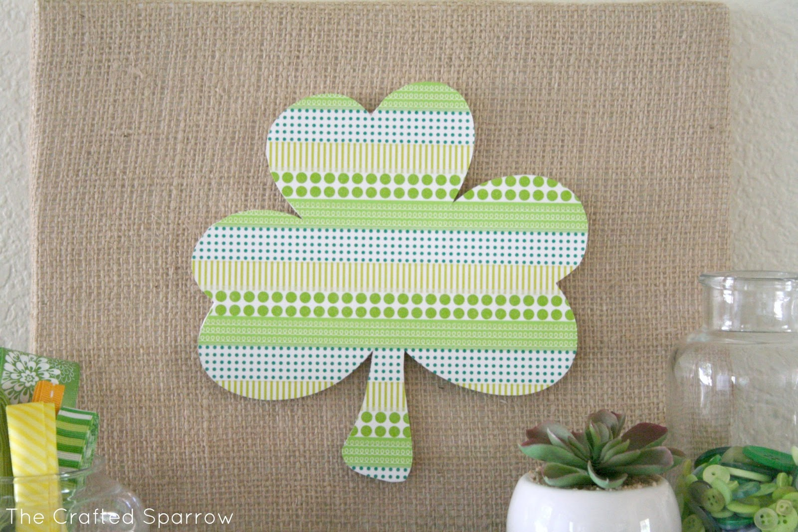 washi tape shamrock silhouette art the crafted sparrow