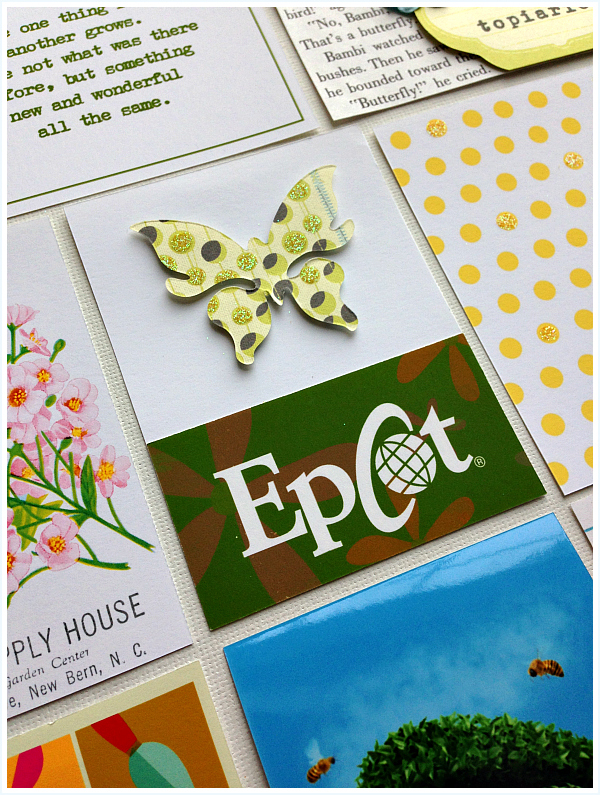 detail of a 3x4 card, Epcot and butterfly diecut, sources linked on blog - Disney inspired memory keeping | www.anyhappylittlethoughts.com