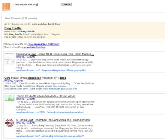 Hasil keputusan carian menggunakan enjin Google Search