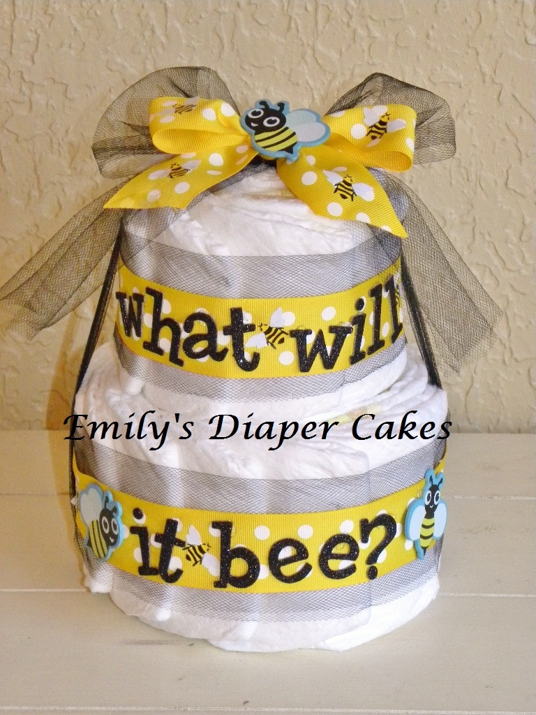 This Diaper Cake Was An Order From A Return Customer Thanks Candy It Made For Reveal Shower With The Bee Theme What Will