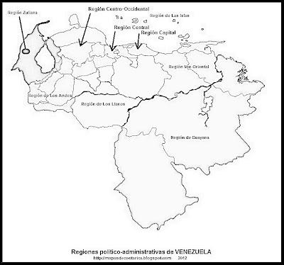 Mapa con los nombres de las Regiones politico-administrativas de VENEZUELA, blanco y negro