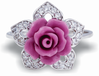 Tanya Rossi Pink Rose Silver Ring TRR 181 Rs 1800