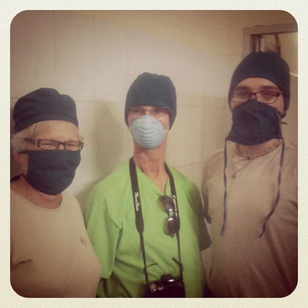 We shared fabric head coverings and surgical masks and walked into ...