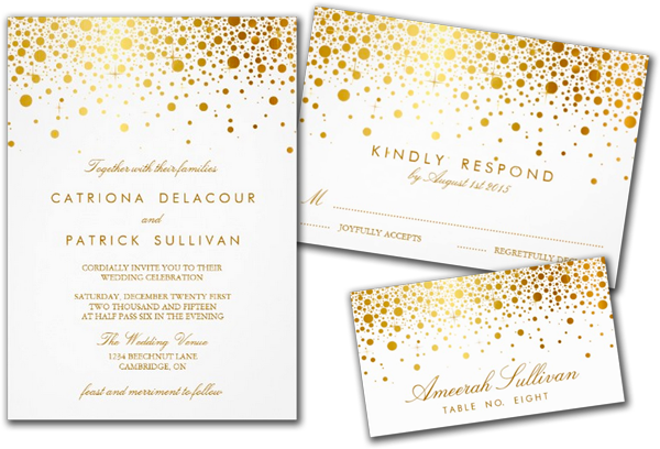 Wedding Cards and Gifts: Faux Gold Foil Confetti Elegant ...