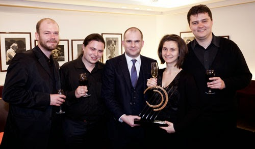 The Arcadia Quartet, winners of the 2012 Competition, with John Gilhooly - photo Ben Ealovega