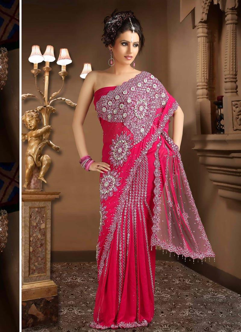 red head in a sari