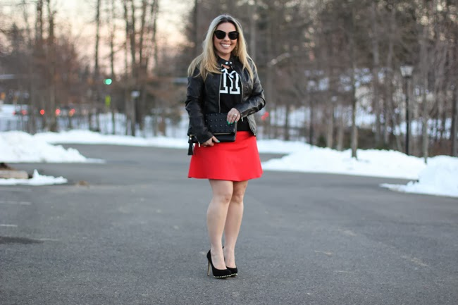 Red Mini Skirt and Black Leather Jacket