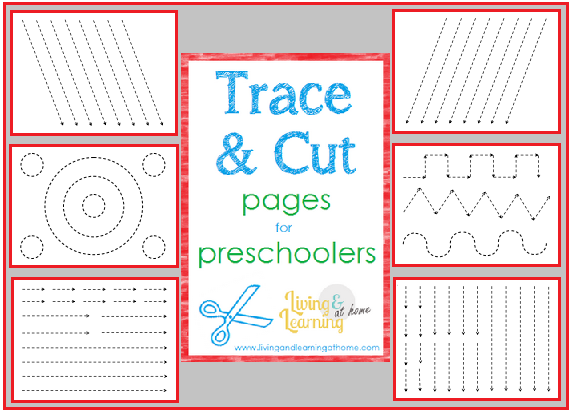 Common Worksheets tracing sheets for preschoolers : Living and Learning at Home: Trace and Cut Pages for Preschoolers