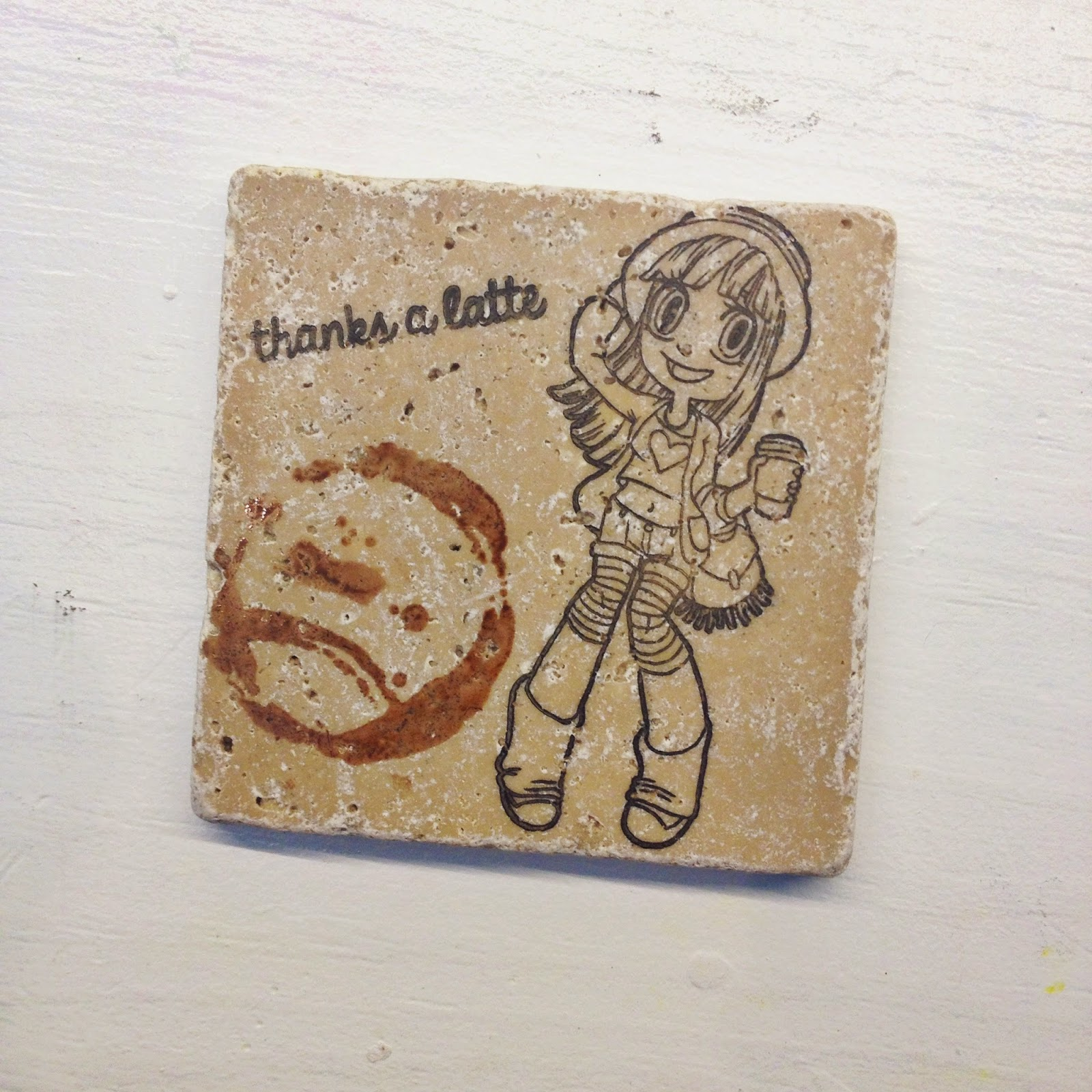 some odd girl, Hipster Mae, coaster, copic, copic coloring, tile, coffee, latte, stamp, clear stamp. SOG