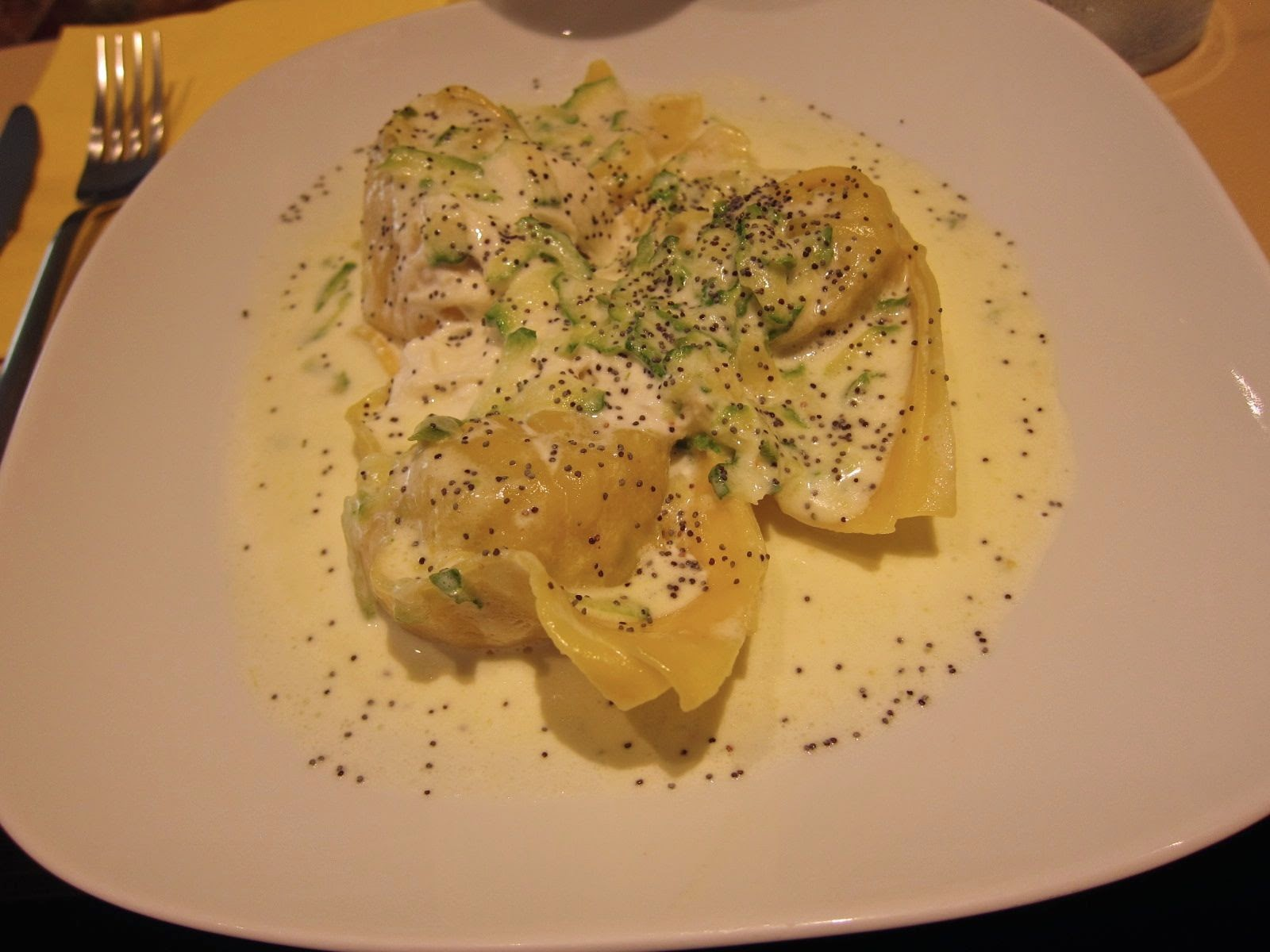 Ravioli stuffed with zucchini and ricotta at Zeb