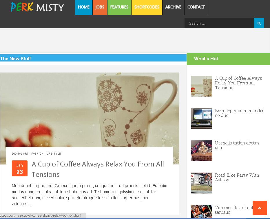Perk Misty Blogger Template
