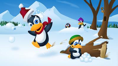 La mascota de Linux (Tux) celebrando la Navidad 2011