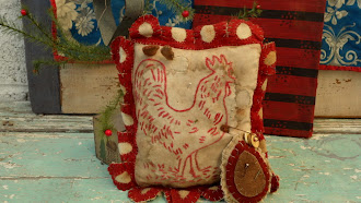 Sewing Cushion made of all early 1800's cloth - hand stitched by Angela Hillstrom