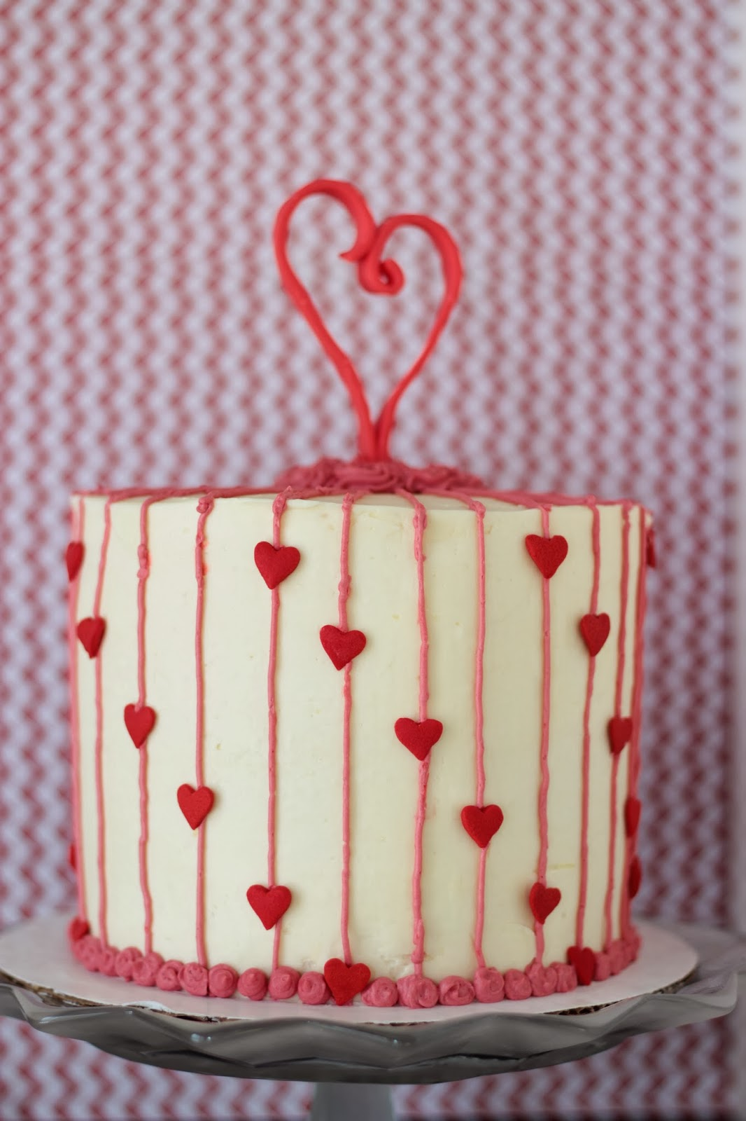 Red heart cake topper