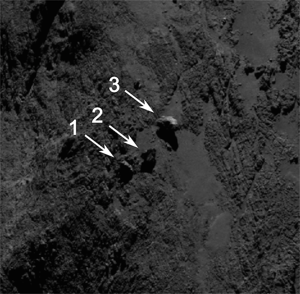 Image of the boulders taken by OSIRIS on 16 September 2014 from a distance of 29 km. The image scale at this distance is around 0.5 m/pixel and the image measures about 292 m across. Boulder 3 measures approximately 30 m across. Credits: ESA/Rosetta/MPS for OSIRIS Team MPS/UPD/LAM/IAA/SSO/INTA/UPM/DASP/IDA