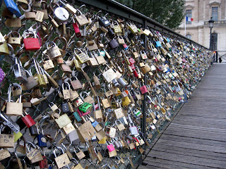 Padlocks on the Archeveche Bridge in Paris