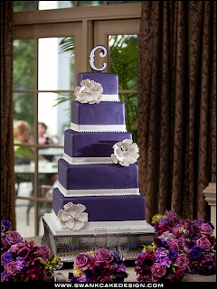5 tier plum and white wedding cake