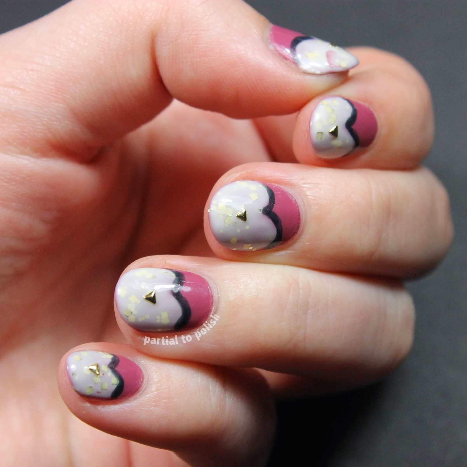 Half Moon Heart Nail Art Featuring Tiny Triangle Studs and a Born Pretty Store Review