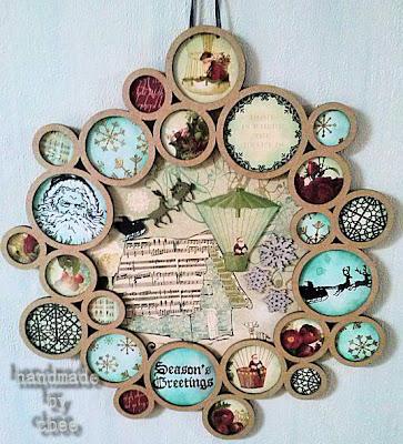 Visible Image stamp christmas santa sleigh snowflake