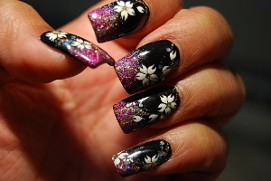 Black Fabric Nail Art