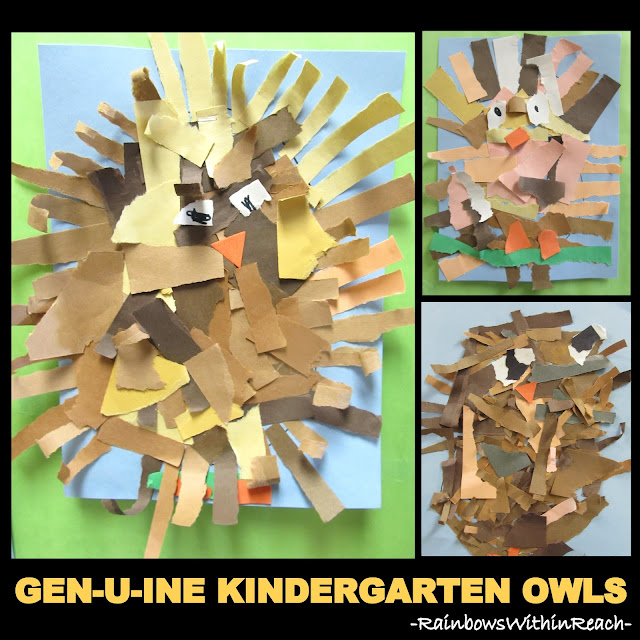 photo of: Torn Paper Owl Project in Kindergarten via RainbowsWithinReach
