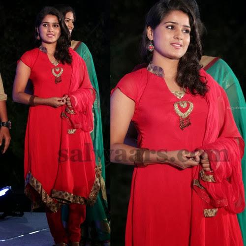Kousalya Red Salwar Kameez