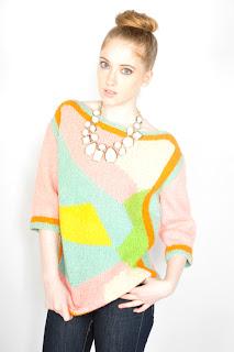 Vintage 1960's pastel colored swirl print sweater.