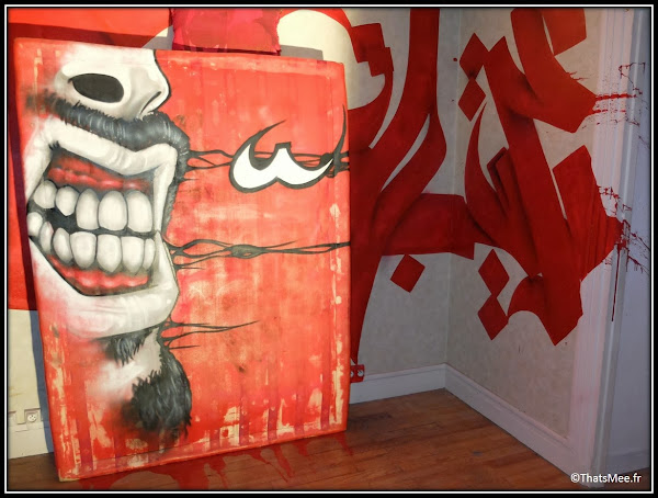 Tour Paris 13 street artiste Arabie Saoudite calligraphie visage rouge