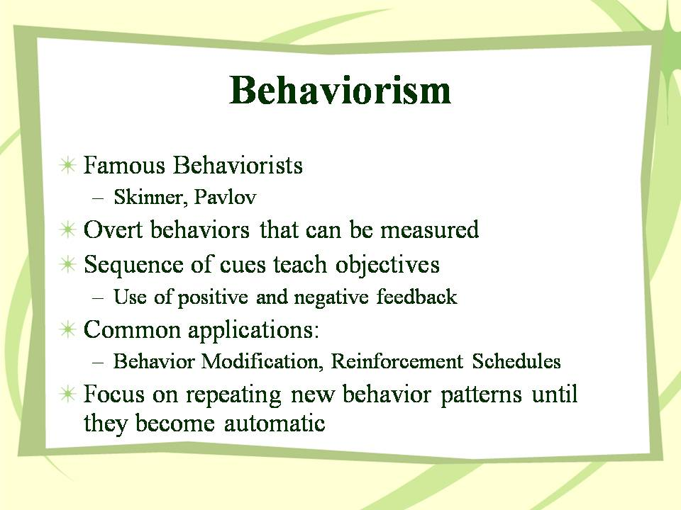 behaviorism cognitivism constructivism Describes 3 positions on learning (behavioral, cognitive, and constructivist) to provide structured foundations for planning and conducting instructional design activities each learning perspective is discussed in terms of its specific interpretation of the learning process and the resulting implications for instructional designers.