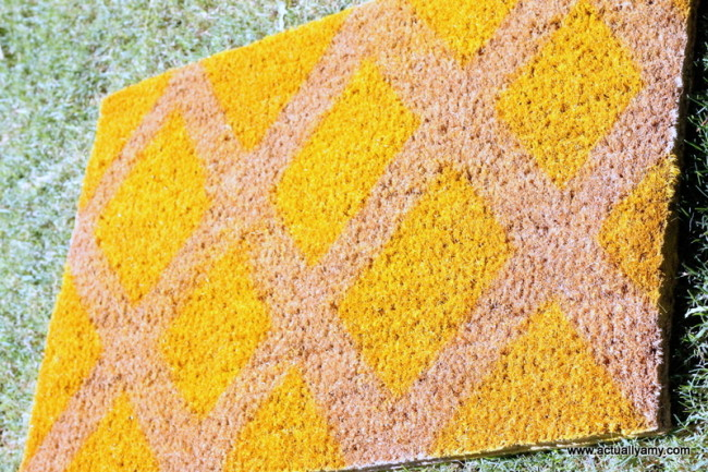 Brown coir with yellow spray paint, via Two Ten Designs