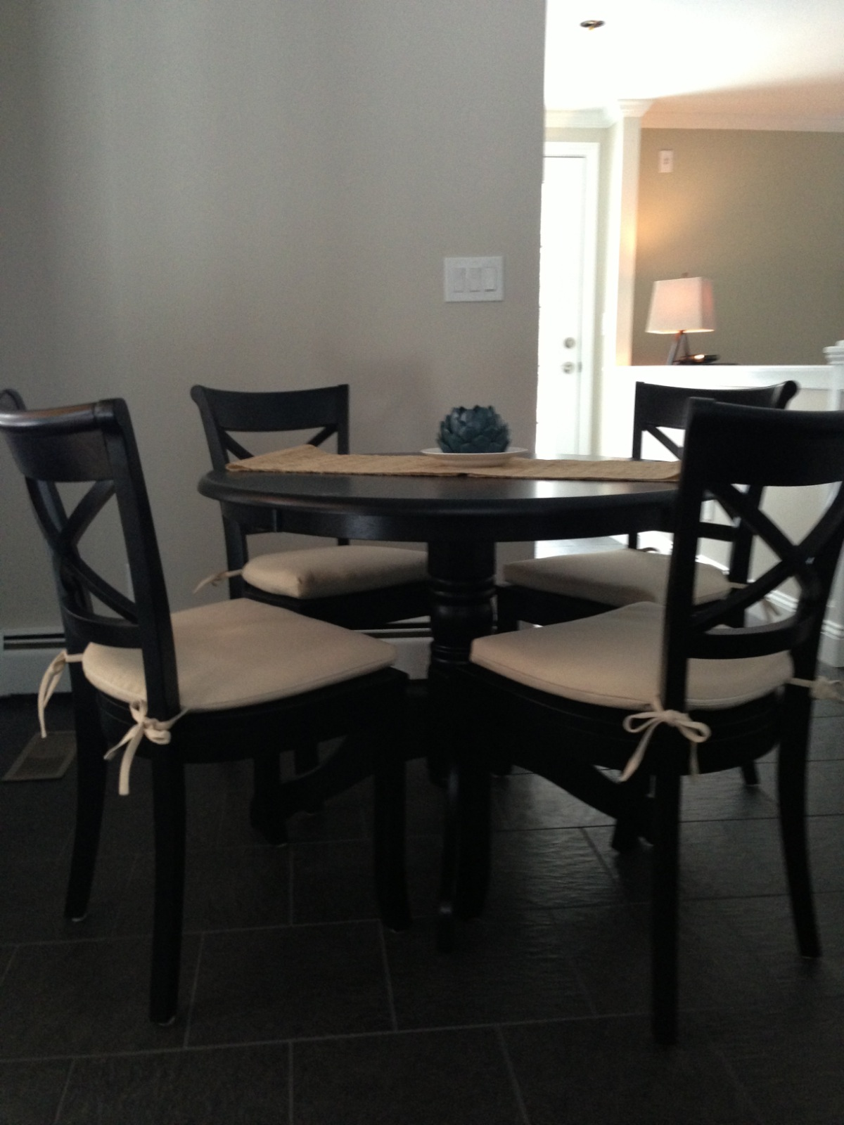 Fancy Kitchen Table Shelves and Light Fixture