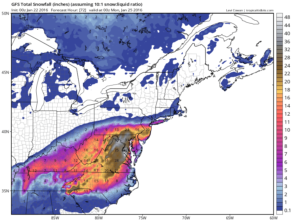 Regulus star notes before a would be historic dc blizzard some map of the 0z jan 22 2016 gfs snowfall for the northeastern us valid through hour 72 0z jan 25 2016 based upon a 110 ratio publicscrutiny Gallery