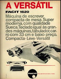 anúncio máquina de escrever facit - 1970. 1970. História da década de 70. Propaganda nos anos 70. Brazil in the 70s. Oswaldo Hernandez.